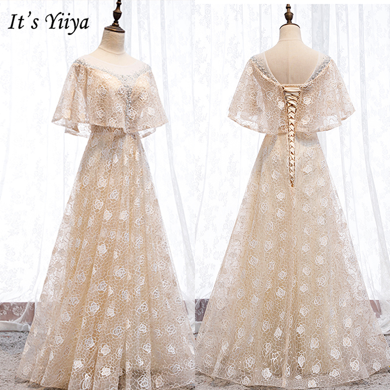 It's Yiiya Evening Dress 2019 Elegant O-Neck Batwing Sleeve Lace Fomal Gowns Long Floral Print A-Line Dress Robe De Soiree E987