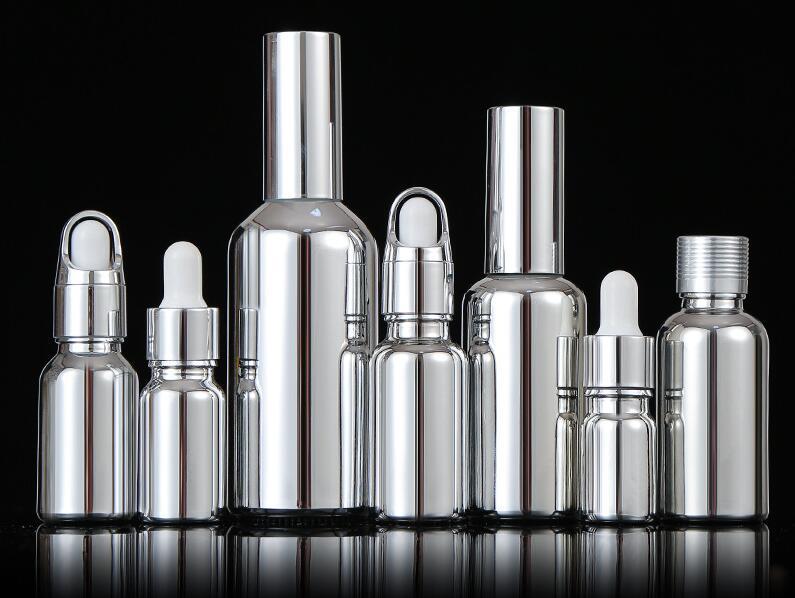 10Pcs 10-100Ml Galvaniseren Zilver Glas Etherische Olie Flessen Cosmetische Serum Lotion Pomp Verstuiver Spray Fles Dropper fles
