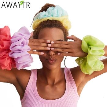 AWAYTR 17.5cm Oversized Scrunchies Big Rubber Hair Ties Elastic Hair Bands Girs Ponytail Holder Women Headband Hair Accessories