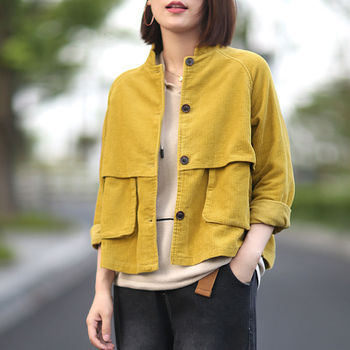 New Harajuku Corduroy Jackets Women Winter Autumn Overcoats Female Cute Solid Color Clothing special design tooling pocket tops