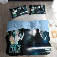 HELENGILI 3D Bedding Set Rick and Morty Print Duvet Cover Set Bedcloth with Pillowcase Bed Set Home Textiles #RAM17