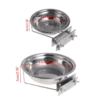 Pet Stainless Steel Coop Cup Food Water Bowl For Dog Parrot Bird Cage Crate 2
