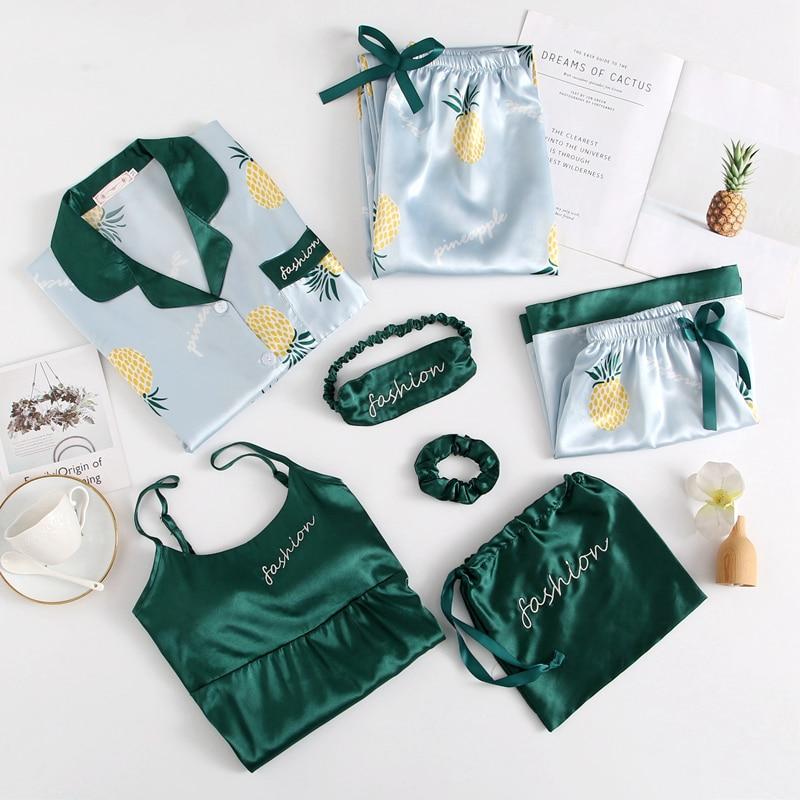 Spring Summer 7 Pcs Set Silk Elegant 2020 Women Pajamas Print Shorts Long Sleeve Top Elastic Waist Pants Full Lounge Sleepwear