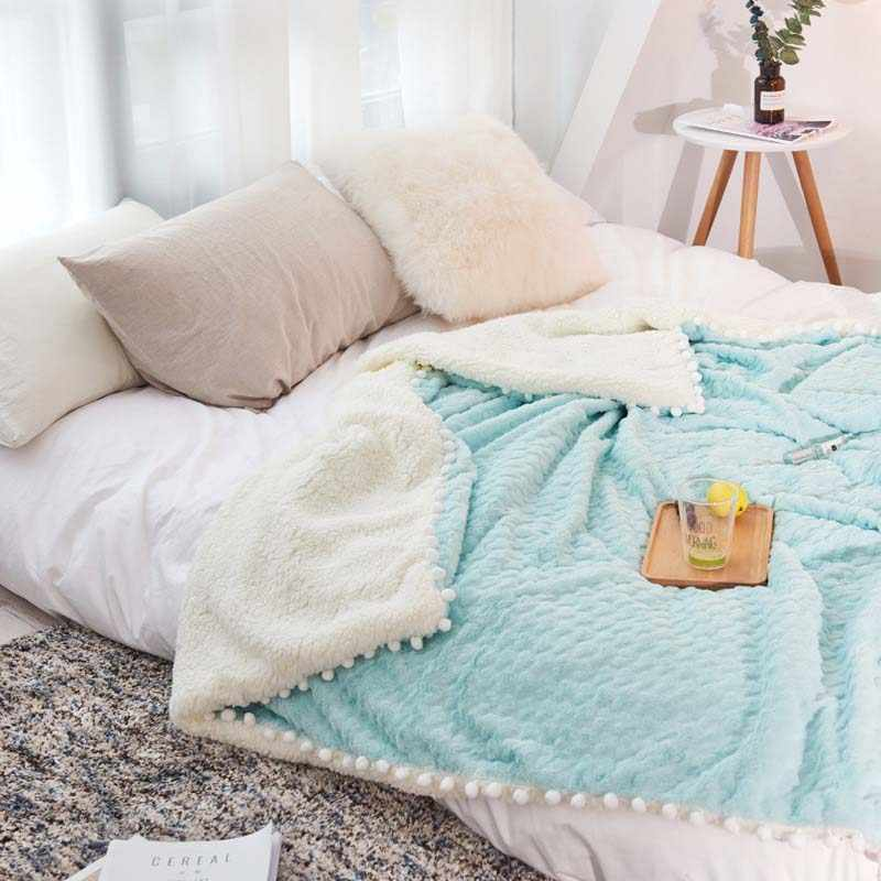 Double Layer Warm Winter Blanket Mink Cashmere Balls BedSpread Office Coverlet Sleeper Quilt Baby COmforter