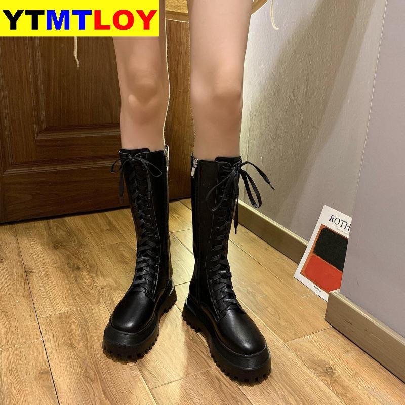 Lace up Zipper Boots Short Boot Wear resistant non slip Women Boot Winter Female British Wind 2020 New Joker Thick bottom