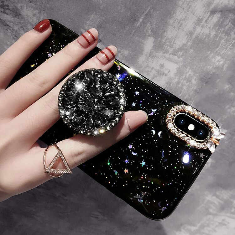 For Huawei P10 P20 P30 Lite Pro Mate 10 20 Honor 9 10 20 Lite Nova 3 3i 4 5 Pro Diamond Holder Glitter Star Love Moon Phone Case