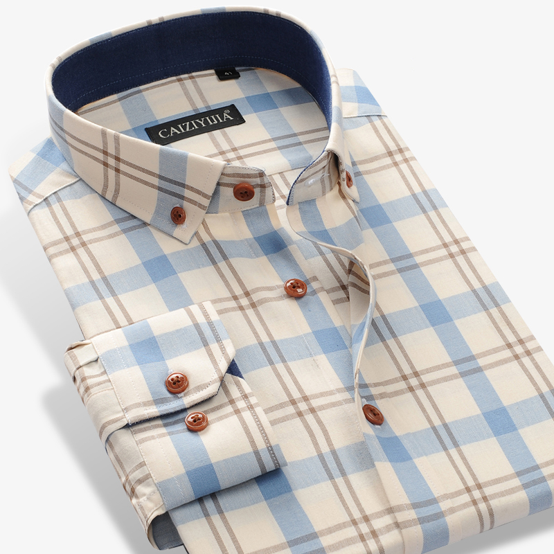 Men's 100% Cotton Long Sleeve Contrast Plaid Checkered Shirt Male Smart Casual Tops Standard-fit Button Down Gingham Shirts