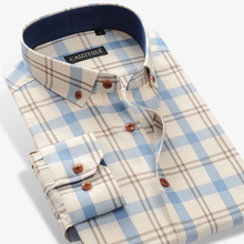 Mens 100% Cotton Long Sleeve Contrast Plaid Checkered Shirt Pocket less Design Casual Standard fit Button Down Gingham Shirts