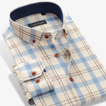 Men's 100% Cotton Long Sleeve Contrast Plaid Checkered Shirt Pocket-less Design Casual Standard-fit Button Down Gingham Shirts фото