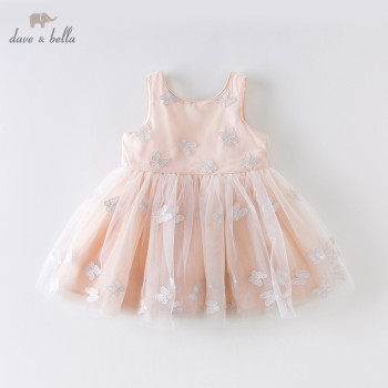 DB12998 dave bella summer baby girl's princess bow appliques mesh dress children fashion party dress kids infant lolita clothes