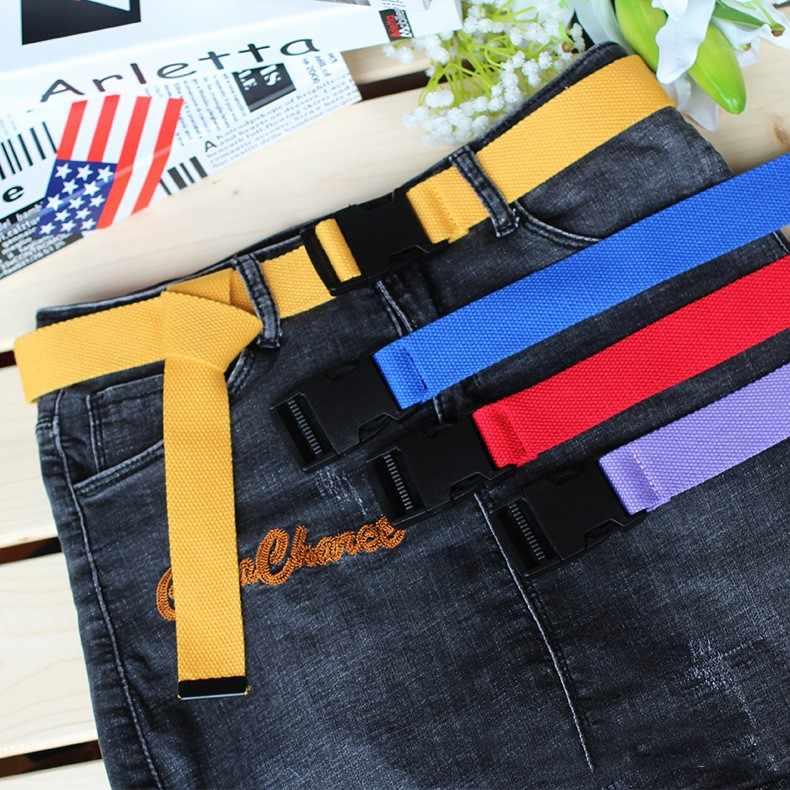 Cinturón coreano ajustable Unisex de estilo táctico, cinturón de lona Vintage de plástico con hebilla elástica, cinturón largo liso