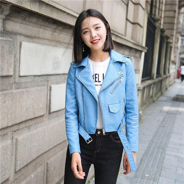 Ftlzz Pu Leather Jacket Women Fashion Bright Colors Black Motorcycle Coat Short Faux Leather Biker Jacket Soft Jacket Female 3
