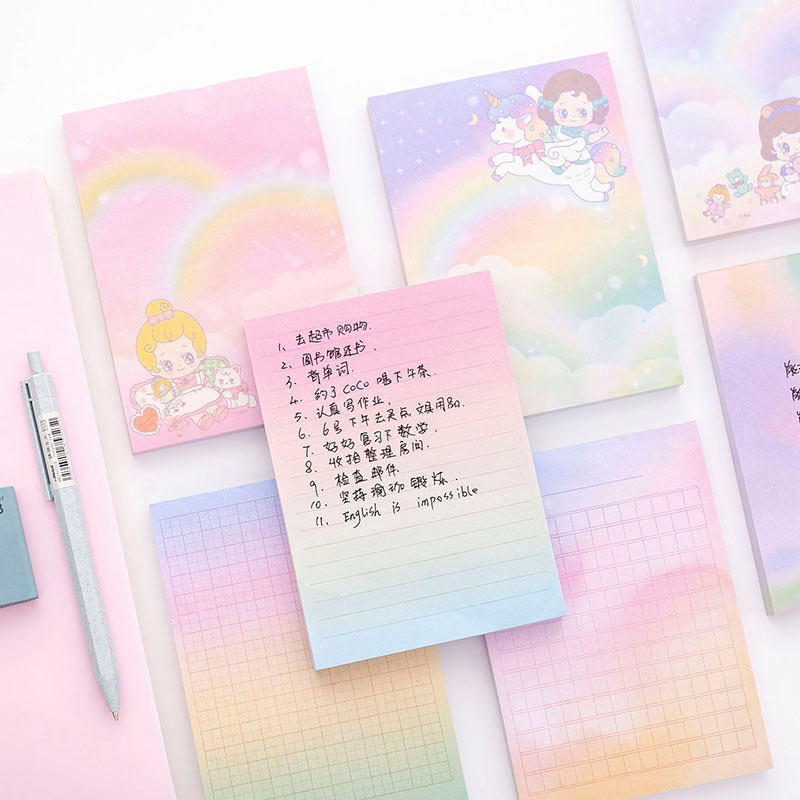 Creative Rainbow Unicorn Girl Loose Leaf Memo Pad To Do List Planner Agenda Notepad Notes Bookmark Marker Home Office School