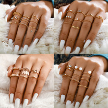 Tocona – ensemble de bagues de luxe en or et en forme de lune pour hommes et femmes, bijoux géométriques, style bohème, pompon, pierre de cristal brillante, perle, cœur