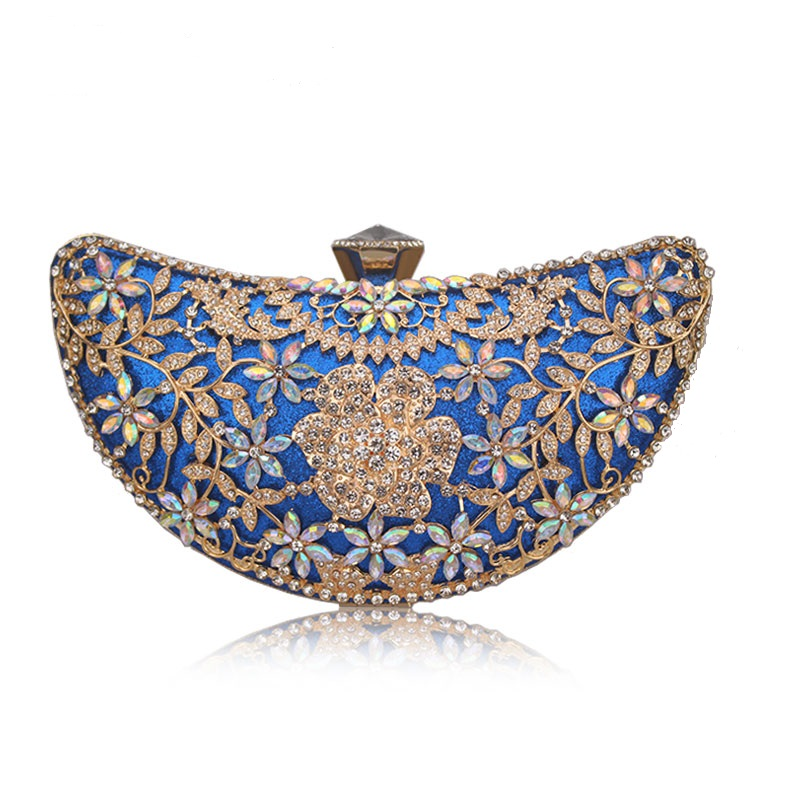 Luxury Clutches Moon Sequined Hollow Out Crystal Lady Shoulder Phone Wallet Case Wedding Shoes Matching Bag Evening Handbags