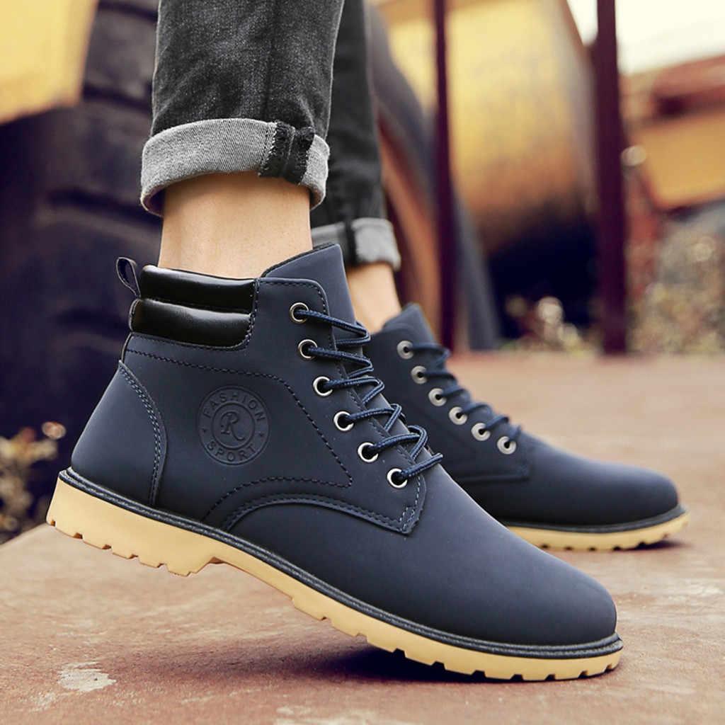 Scarpe stivali da uomo genuino DELL'UNITÀ di elaborazione di inverno e di autunno di Modo degli uomini di casual Lace Up Caviglia Caldo Stivali Da Moto In Pelle Esterna scarpe
