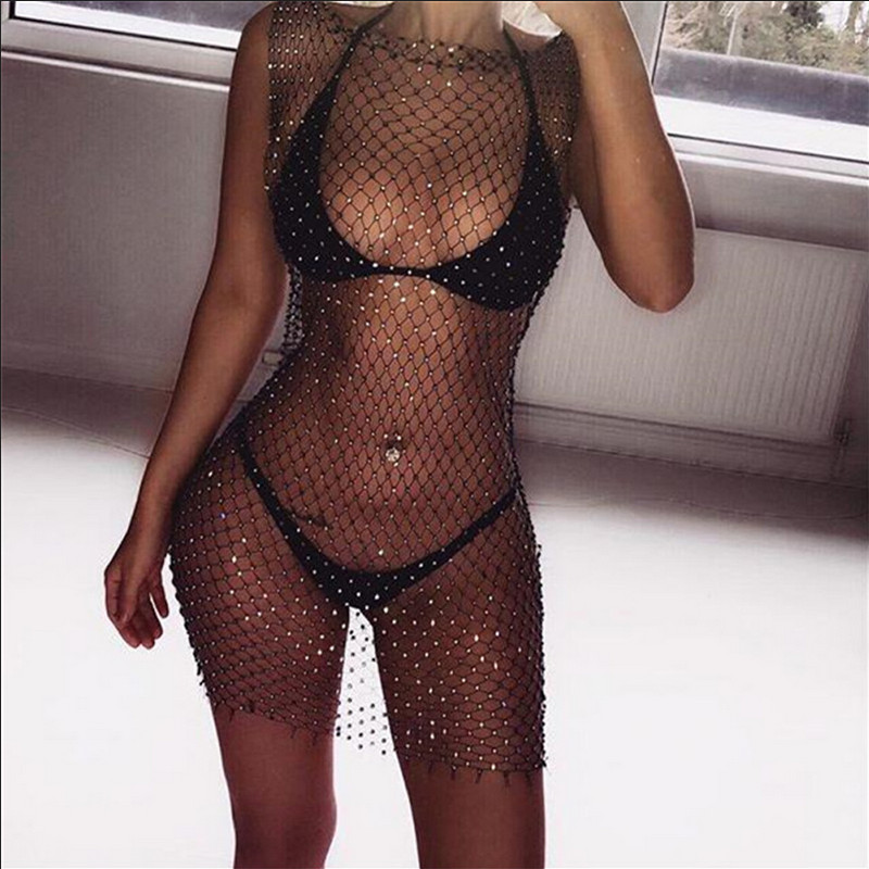 2019 Summer Diamonds Mesh Patchwork Dresses Women Crochet Hollow Out Rhinestone Sleeveless Party See-through Wrap Mini Dress