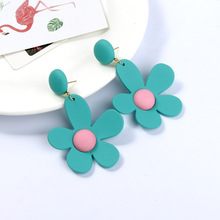Korean Sweet Ins Fluorescent Color Earrings Against Flower Exaggerated Small Fresh Accessories Women