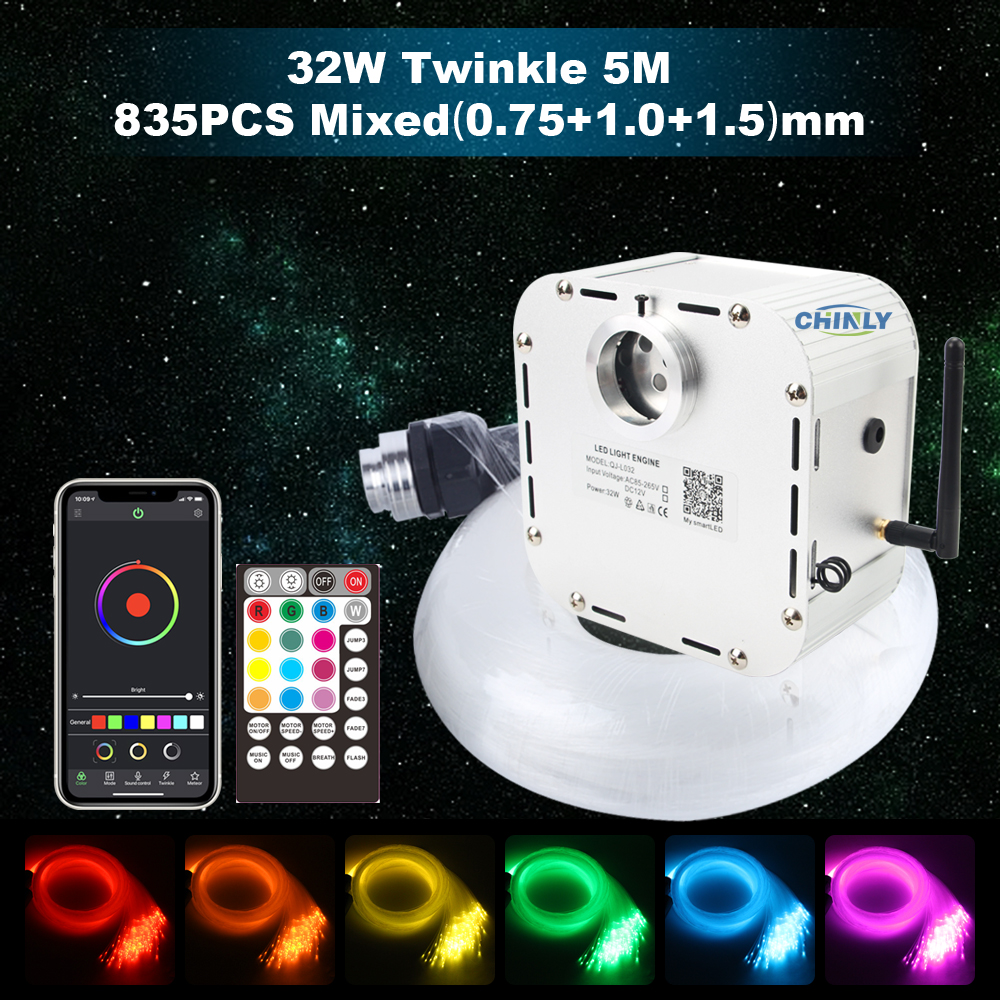 32W RGBW 4-speed Twinkle LED Fiber Optic Light APP Bluetooth Music RF Remote 5 Meters 835 Strands Mixed-size Cable Star Ceiling