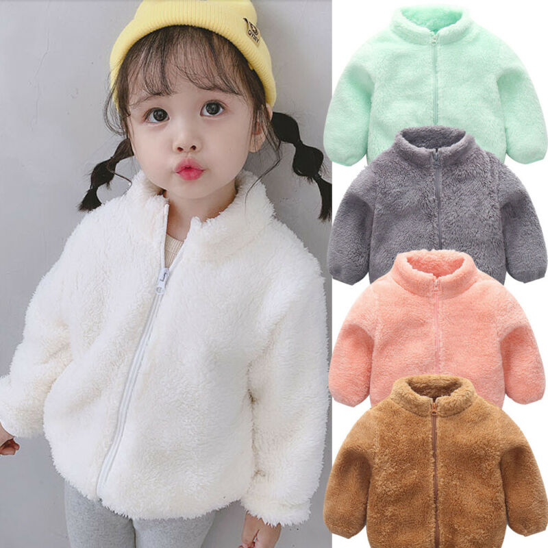 2019 New Winter Girls Plush Warm Coat Fleece Warm Pageant Party Warm Jacket Snowsuit Baby Zip Up Coat Outerwear Kid Clothes