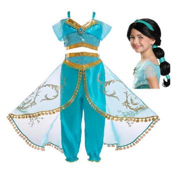 FindPitaya świąteczna impreza z okazji halloween wymyślne dziewczęce sukienki Aladdin #8217 s Lamp księżniczka jasmine przebranie na karnawał z peruka tanie i dobre opinie Dresses Movie TV Dziewczyny Zestawy Polyester Spandex Kostiumy Princess Jasmine Costume Aladdin and the Magic Lamp 110-120-130-140-150