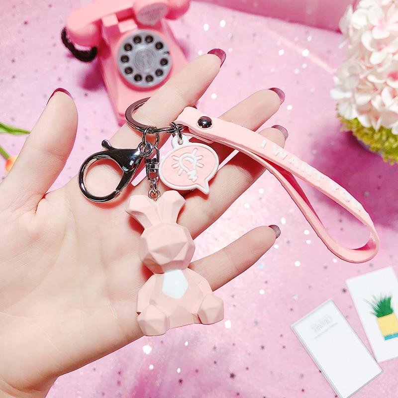 2019 New Fashion Cute Dinosaur Keychain Key Ring Fashion Cartoon PU Key Chain Creative Car Bag Phone Key Ring (11)