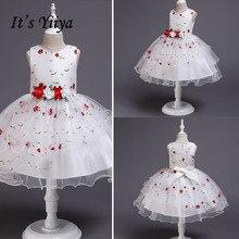 It's Yiya/Платья с цветочным узором для девочек элегантное Пышное Платье с круглым вырезом и принтом для девочек Apliques/короткая майка Vestidos De Noches Para Ninas 2009