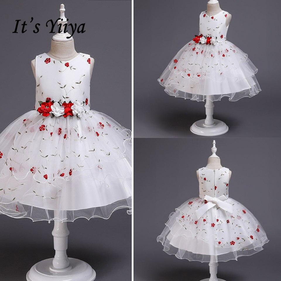 It's YiiYa   Flower     Girl     Dresses   Elegant Print O-neck   Girls   Pageant   Dress   Apliques Short Tank Vestidos De Noches Para Ninas 2009