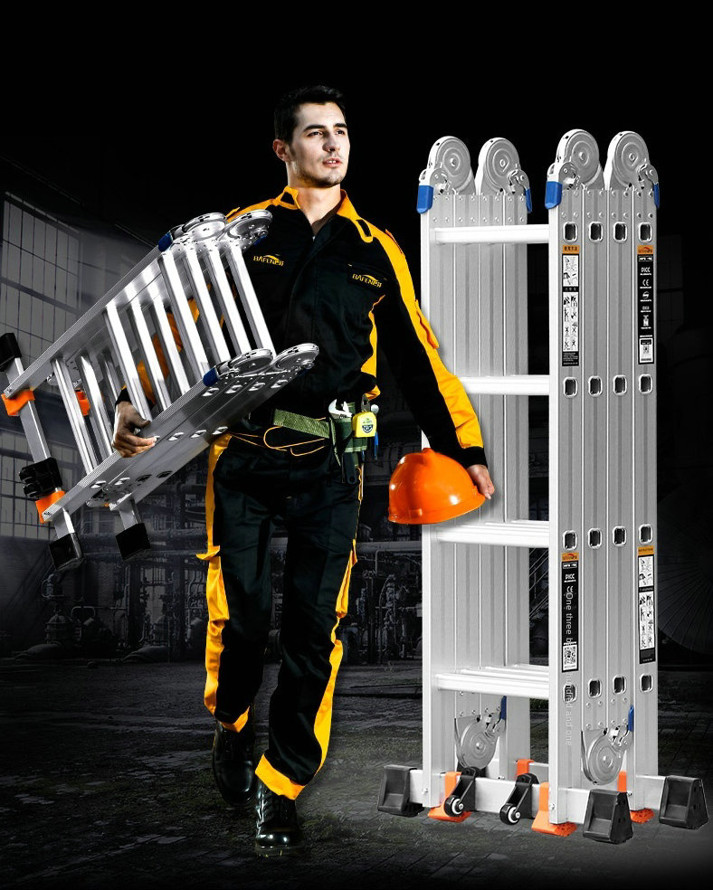 1.77M herringbone ladder/3.6M straight ladder aluminum alloy I-shaped ladder anti-tilting multifunctional engineering ladder