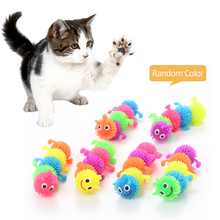 6Pcs Pet Cat Toy Funny Cat Toy Simulation Caterpillar Soft Glue Caterpillar Pranks Vent stress Random Color