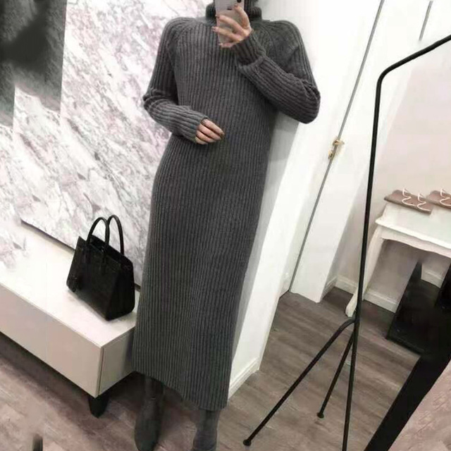 Turtleneck knitted sweater dress ladies fall winter elastic cashmere bottoming shirt midlength over the knee thick sweater dress 3