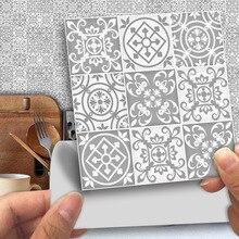 25 unids/pack Grey vintage, victoriano marroquí mosaico Retro tradicional PVC pegatinas autoadhesivas decoración de pared 10x1 0cm/15x15cm