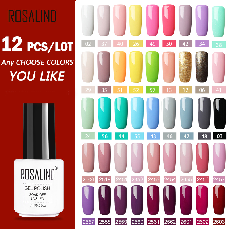 (12PCS/SET)ROSALIND Gel Nail Polish Set For Nail Extension Kit Nail Art Gel Lacquer UV LED Lamp Design Acrylic Nail Manicure Set
