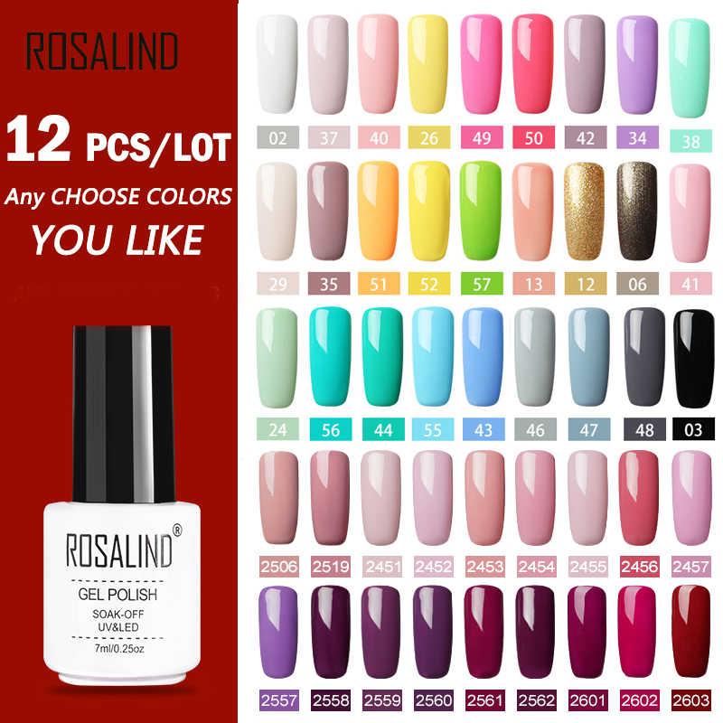 (12 stks/set) ROSALIND Gel Nail Polish Set Voor Nagel Uitbreiding Kit Nail Art Gel Lak UV LED Lamp Ontwerp acryl nail Manicure set