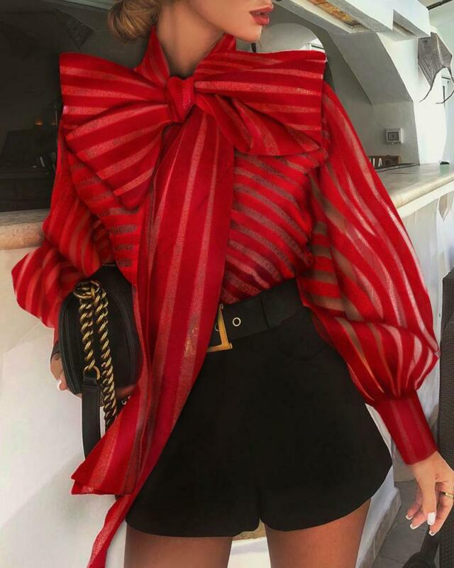 Womens New Spring Blouse Shirts Fashion Leisure Bow Office Ladies Black Red  Mesh Long Lantern Sleeve Striped Tops