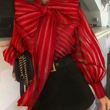 Womens New Spring Blouse Shirts Fashion Leisure Bow Office Ladies