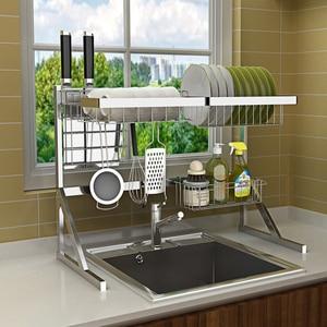 Image 2 - Évier, étagère pour le séchage de la vaisselle, support pour la vaisselle, gain de place, en acier inoxydable