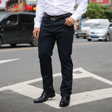 MEN KHAKI TROUSERS 2020 Summer Mens Casual Pants High Stretch Elastic Pocket Badge Trousers Male Black Red Blue Plus Size 44 46