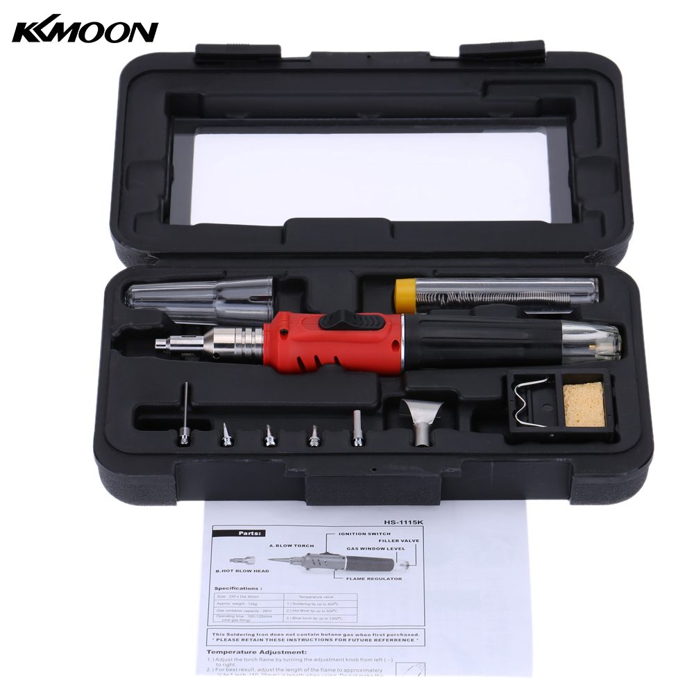 Top Quality Self-Ignition 10-in-1 Gas Soldering Iron Cordless Welding Torch Kit Pen Burner Blow Torch Butane Tip Tool