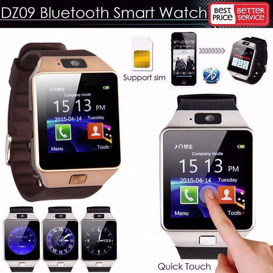 Bluetooth Smart Phone Watch Latest DZ09 Bluetooth Smart Watch Camera SIM Slot For HTC Samsung/Android Phone