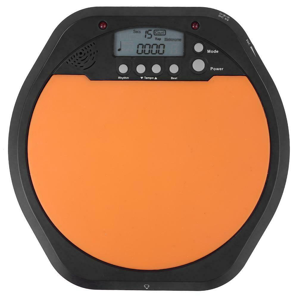 8 Inch LCD Diaplay Metronome 2 In 1 Battery Powered Digital Drum Dumb Pad Beginner Rhythm Electronic Beat Trainer Count Practice