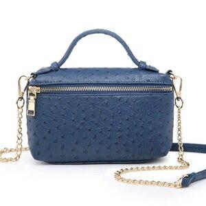Image 4 - Factory Wholesales Ostrich Clutch Bag Leather Handbag Chain Leather Clutch Tote Shoulder Bag Eleagnt