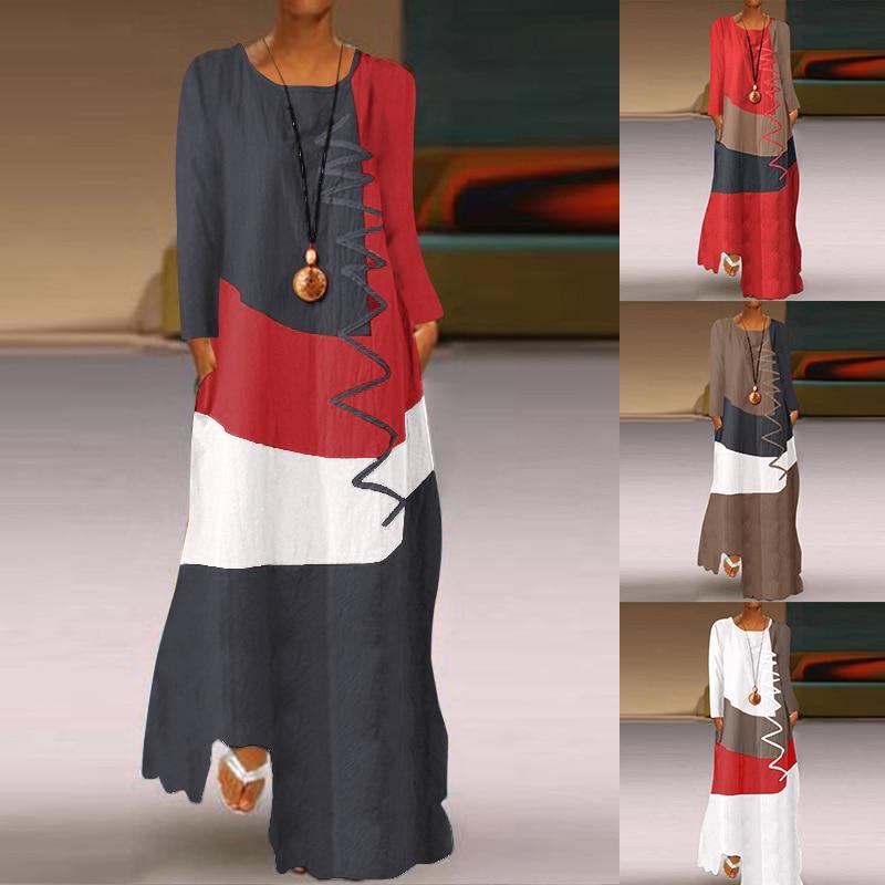 robe comprido, manga longa, feminino, de retalhos, para outono, 2020