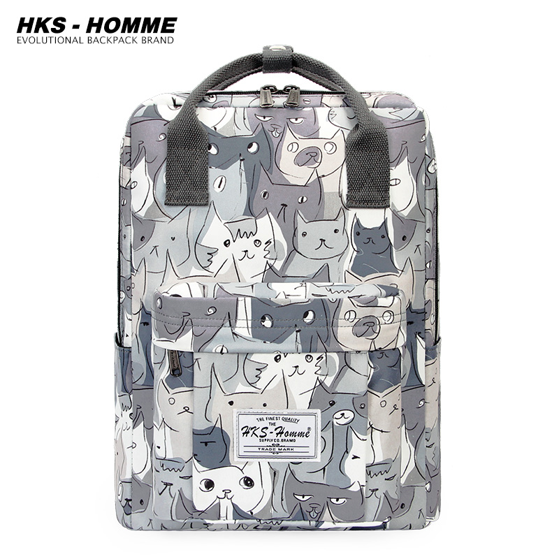 2020 New Women Backpack Cartoon Mochila for Girls Boys Travel Rucksack Cute Cat Printing Shoulder Bag for Teenage College School
