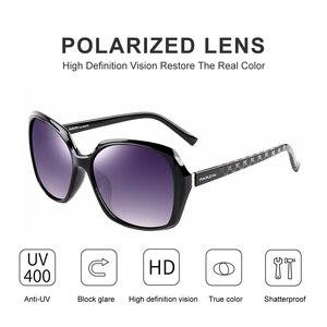Image 2 - بارزين العلامة التجارية مصمم إطار كبير النظارات الشمسية ظلال للنساء موضة البيضاوي الإطار الحقيقي جودة الإناث الاستقطاب النظارات الشمسية