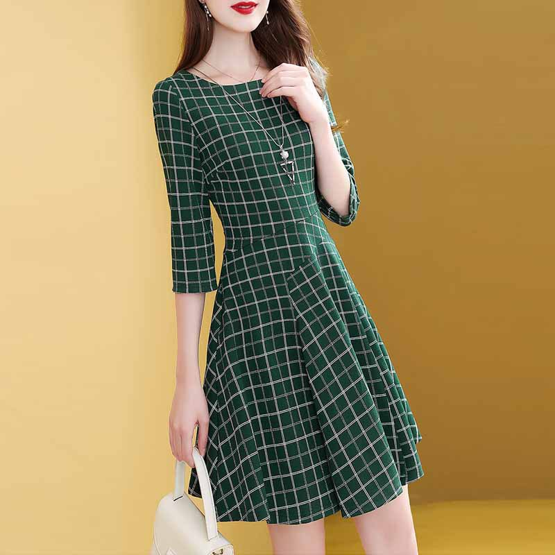 Green Plaid Dress Female Autumn 2019 New Style Three-quarter-length Sleeve Waist Hugging Slimming Elegant Skirt