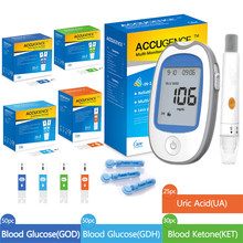 4 in1 MultiFunction Meter Blood Ketone Uric Acid Blood Glucose(GOD&GDH)Monitor Kit Diabetes Gout Device with Test Strips&Lancets
