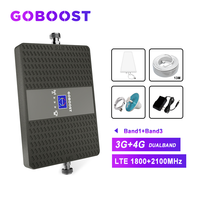 70db Repeater LTE  3g 4g Cellular Booster Dual Band Mobile Phone 4g Signal Amplifier 1800mhz 2100mhz LDPA+ceiling Antenna Kit *