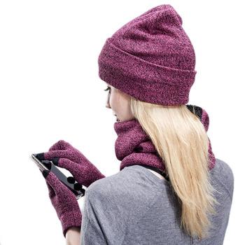 Kobiety zimowe czapki szaliki rękawiczki zestaw moda dzianiny Plus aksamitny kapelusz zestaw szalików dla mężczyzn kobieta 3 sztuk zestaw czapki szalik rękawiczki tanie i dobre opinie WOMEN COTTON spandex Dla dorosłych 26cminch CN014 Stałe 20cminch 190gkg Spring Autunm Winter One Size Winter Hat Scarf Glove K
