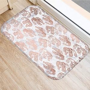 Image 2 - ブラウン幾何非スリップマットホームベッドルーム装飾カーペットキッチンリビングルームのフロアマット浴室ノンスリップドアマット 40x60 センチメートル..